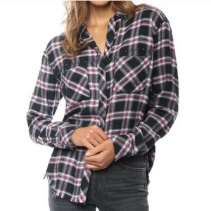 Rails Rex Charcoal Berry Blush Studded Flannel